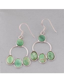 Green Turquoise Silver Earring