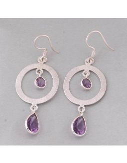 Amethyst Round Silver Earring
