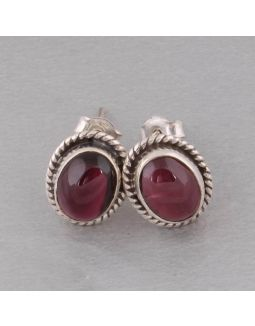 Red Garnet Silver Earring
