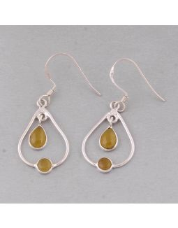 Yellow Jade Silver Earring