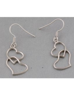Two Attached Heart Silver Earrings