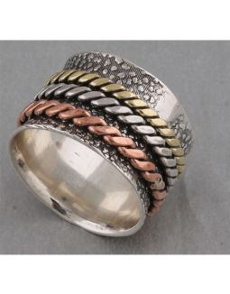 Big Copper Brass and Silver Thumb Ring