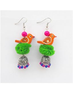 Green and Orange Bird Jhumkas