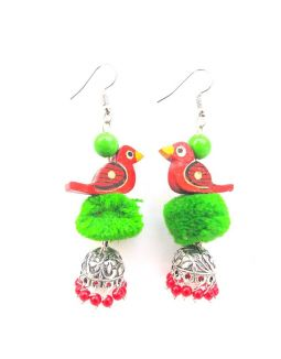 Green and Red Bird Jhumkas