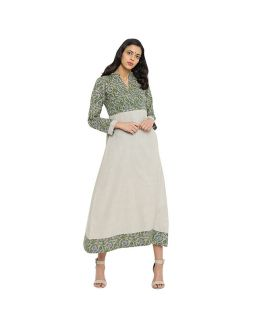 Beige and Green Khadi Dress