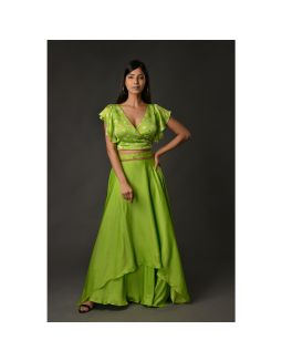 Green Double Layer Skirt Set