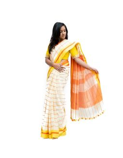 White and Yellow Checked Saree
