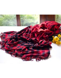 Red and Black Cotton Handloom Dupatta