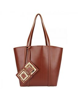 Brown Jhola Bag With Woven Tassels