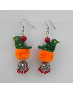 Orange and Green Bird Jhumkas