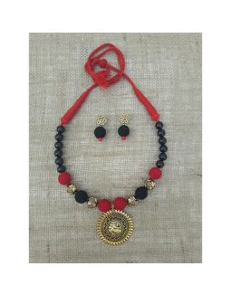 Black and Red Necklace with Ganesha Pendant