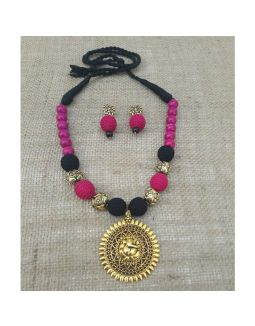 Black and Pink Necklace with Ganesha Pendant
