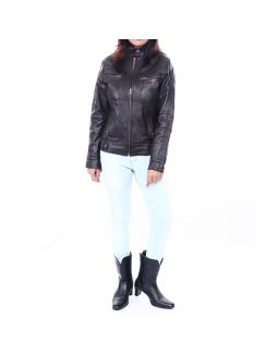 Collar neck Solid Women's Leather Jacket