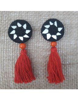 Black and Red Tassels Buttons
