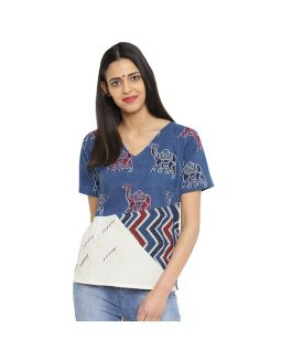 Indigo Block Printed Top