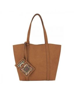 Tan Jhola Bag With Woven Tassels