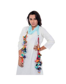 Sky Blue Chiffon Stole with Multicolor Tassels
