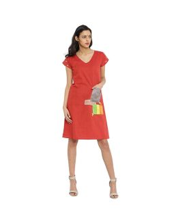 Red khadi Dress
