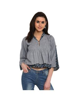 Blue and Grey Khadi Blouse