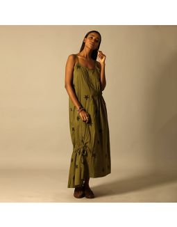 Star Printed Green Maxi Dress