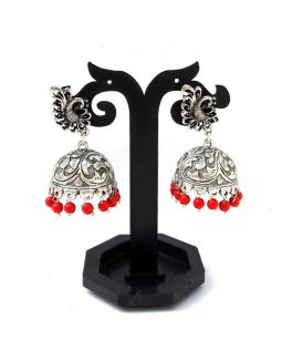 Studded Silver Jhumkas Red