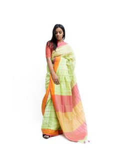 Light Green Checked Saree