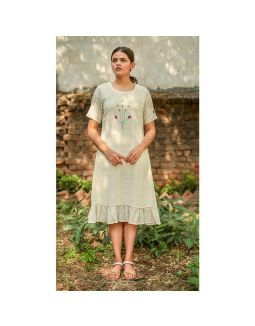 A-Line Embroidery Frill Dress