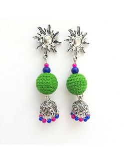Green Pink and Blue Jhumkas