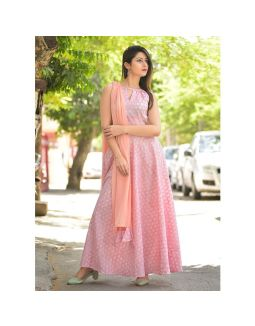 Peach Block Print Kurta and Dupatta Set