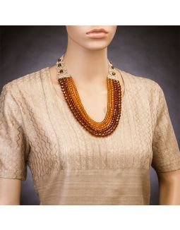 Brown and Yellow Four Crystal Strings Necklace