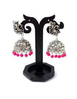 Studded Silver Jhumkas Hot Pink
