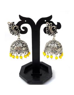 Oxidized Silver Jhumkas Yellow