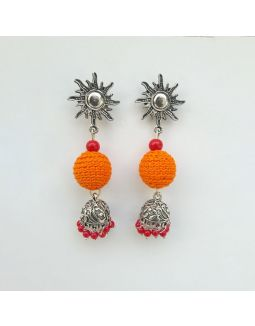 Orange and Red Jhumkas