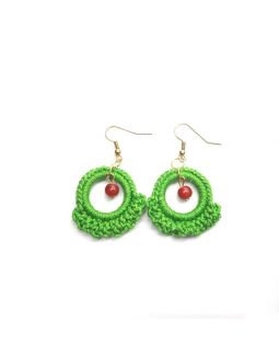 Ruffle Ring Earring Green
