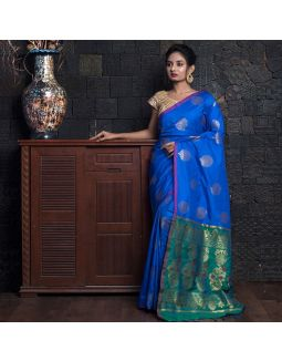 Lapis Blue Border And Zari Pallu