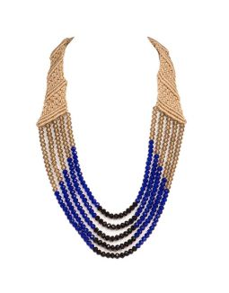 Blue Five Crystal Strings Necklace