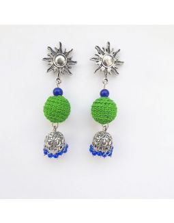 Green and Blue Jhumkas