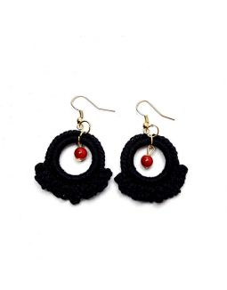 Ruffle Ring Earring Black