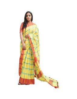 Yellow and Blue Checked Saree