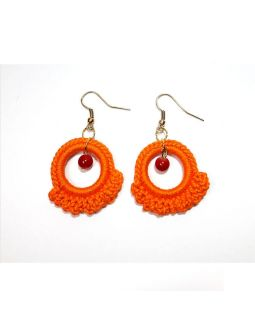 Ruffle Ring Earring Orange