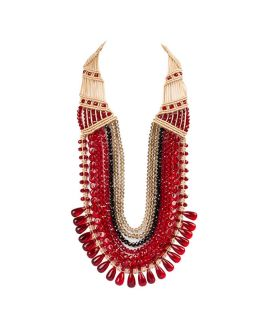 Red and Black Seven Crystal Strings Necklace