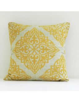 Yellow Damask Cushion Cover