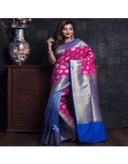 Pink And Royal Blue Banarasi Saree