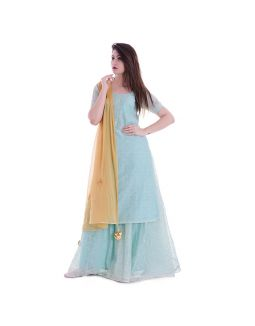 Pista Green Golden Booti Kurta Skirt Set
