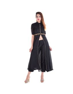 Black Embroidered Dress with Pant