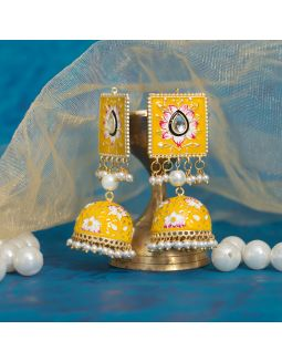 Yellow Square Meenakari Jhumkas
