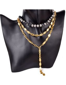 Three Layered Gold Plated Grey Stone Necklace