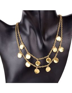 Two Layered Gold Plated Coin Necklace