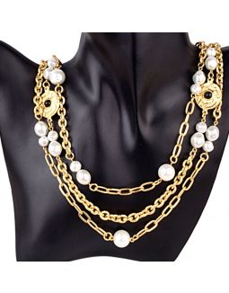Two Layered Pearl Gold Plated Necklace