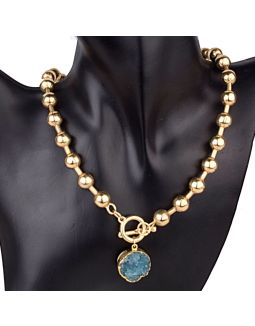 Golden Beads Blue Stone Necklace